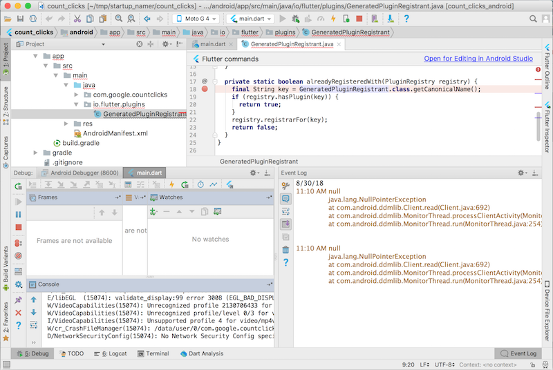 screenshot of Android Studio in the Android debug pane.