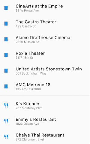 ListView containing movie theaters and restaurants